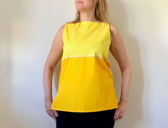Vintage Marimekko Top, Yellow Sleeveless Top, Size