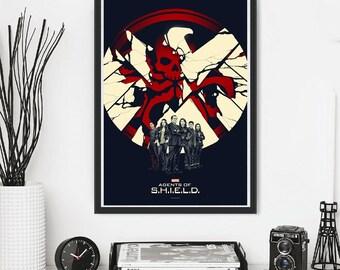 Agents Of Shield Tv Series Show Hydra Red Skull Avangers Marvel Superhero Comics Nick Furi Art Deco ALternative Poster Print