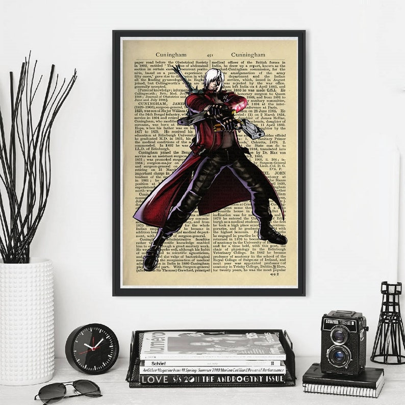 Devil May Cry Dmc Dante Character Hell Inferno Demon Angel Game Gaming Art Deco Comics Alternative Dictionary Book Poster Print