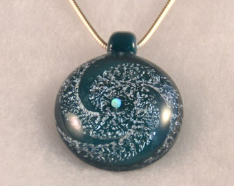 Spiral silver Dichroic Glass pendant and Opal Heart