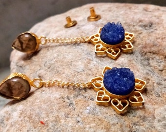 Handmade exclusive gold plated brass earrings with blue duzi gemstone