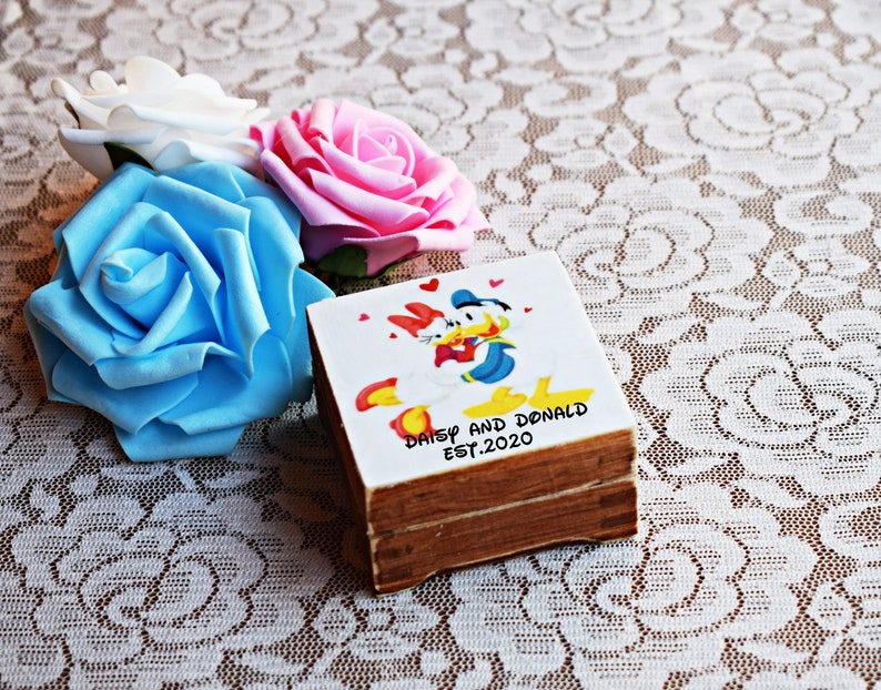 mini wooden box wedding gift box engagement ring holder Disney wedding inspired Daisy and Donald ring box ring bearer box proposal box