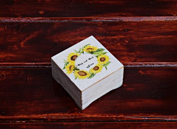 Rustic Ring Bearer Box Fall wedding Personalized Wedding Box Custom Keepsak ring box Proposal \u0415ngagement box Sunflowers Wedding Ring Box