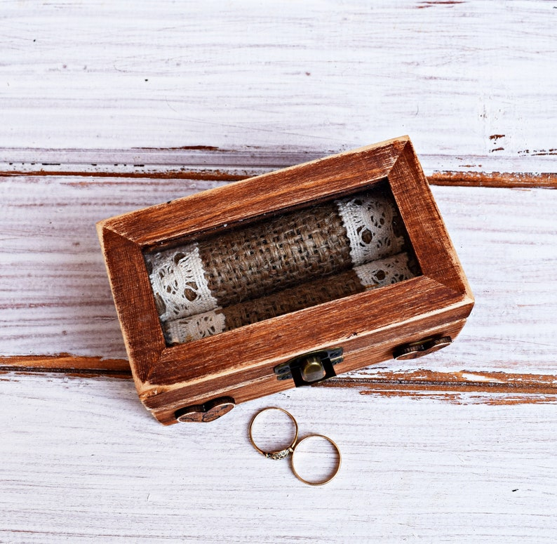 burlap pillow ring box ring box ring bearer box with glass lid top wedding ring box glass top ring box Wood ring box custom ring box