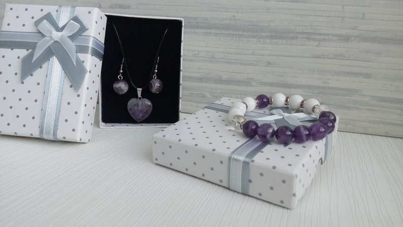 Amethyst 10mm Jewelry set White Coral 10mm Natural stone Amethyst earrings 12mm Stone pendant Cord necklace Women Valentine day gift