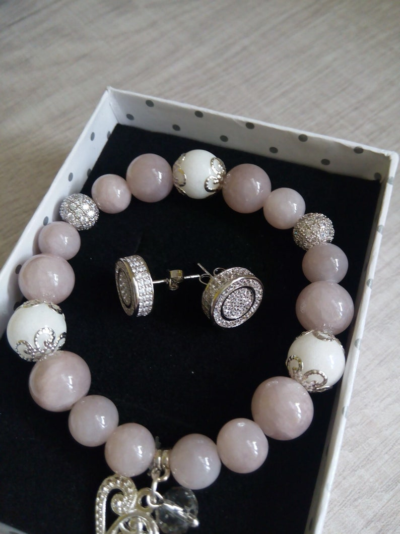 Beauty Women Jewelry set Natural stone Bracelet  Woman Zircon Ring Zircon Earrings Wedding Set 925 Silver jewelry set Valentine/'s Day Gifts