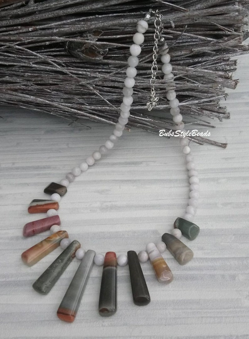Woman necklace Gemstone necklace for her Agate stone necklace Jasper Picasso Christmass gift woman Natural stone necklace Jewerly for woman