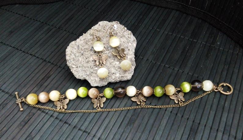 Antique Bronze Butterfly Woman Jewelry Set Natural stone bracelet Cat eye 10mm Smooky Quartz 10mm Chakra bracelet Vintage bronze bracelet