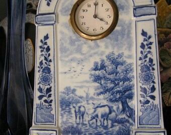 Rare Delft clock with decor 565 from Mosa Maastricht around 1910