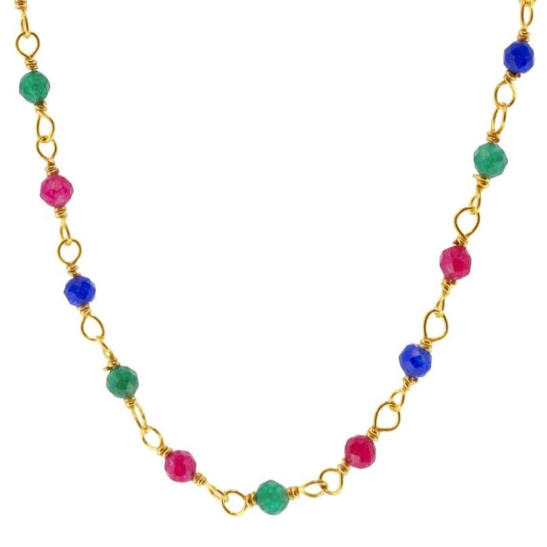 Minimalist jewelry Minimalist necklace Multicolor necklace Dainty necklace Silver cz necklace Gold cz necklace