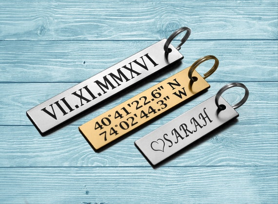 Personalized Name Keychain, Engraved Keychain Personalized, Custom  Coordinate Keychain, Personalized Keyring Name , Engrave Name Tag