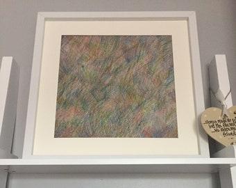 Original colour pencil abstract artwork