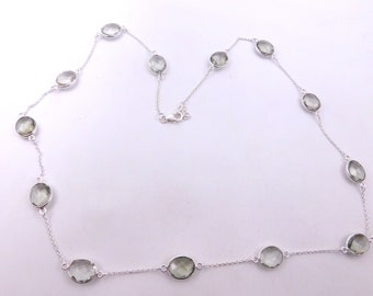 925 Sterling Silver Chain Olive Quartz 42 /'/' Faceted Mix Shape 31.72 G.M Natural Gemstone Silver Necklace  6 x 10 To 14 x 16 MM