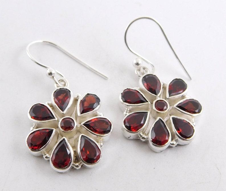 7.10 gm 1 Pear Natural Garnet cut Loose Gemstone 925 Silver Jewelry Facted Garnet Earring AAA Quality Garnet Earrings K2142