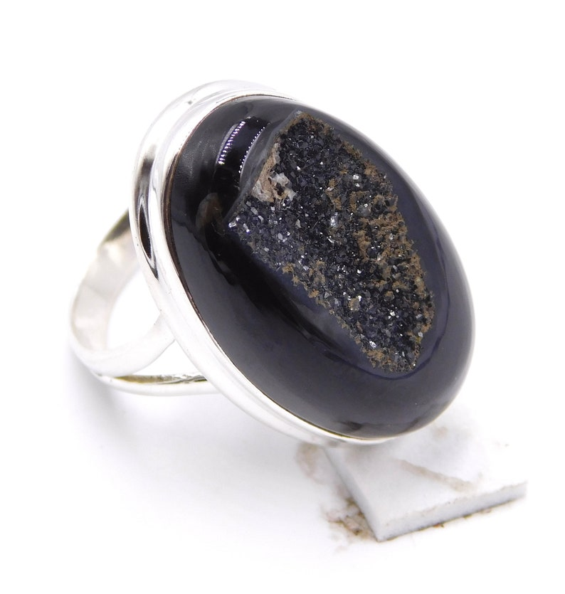 9.20Gm Ring Size8 Natural Black Onyx Druzy Ring 925 Sterling Silver Wedding Ring AAA QUALITY Onyx Gemstone Ring 925 Sterling Silver J244