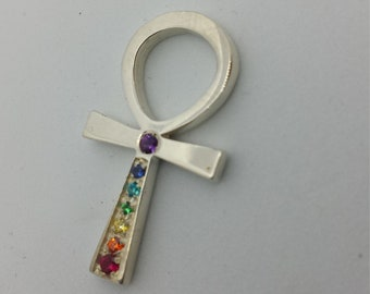 Ankh 7 Chakra, 28mm, in silver