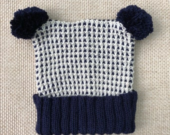 Knitted newborn 6-12 months navy and cream gender neutral baby hat