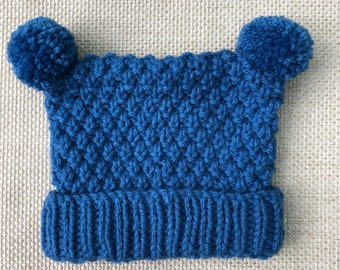 Knitted newborn 6-12 months chunky blue baby boy hat