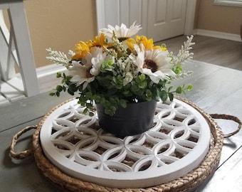 Woven Round Tray/Rattan Tray/Lattice Wood/ Table Tray/Boho Decor/Farmhouse Decor/Rustic Home Decor/ Coffee Table Tray/Floral Centerpiece