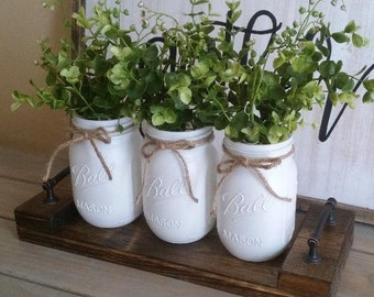 Mason Jar Centerpiece Rustic Home Decor Table Painted Jars Farmhouse Floral