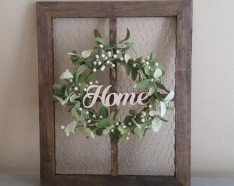 Chicken Wire Frame with Wreath/Rustic Wall Decor/Farmhouse Decor/Home Sign/Farmhouse Wall Decor/Home Decor/Wall Hanging/Wreath/Mini Wreath