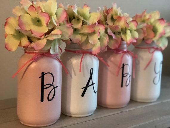 Painted Mason Jars/Mason Jar Centerpiece/Home Decor/Baby Shower Gift/Baby  Decor/Baby/Baby Mason Jars/Floral Mason Jars/Baby Gift Ideas