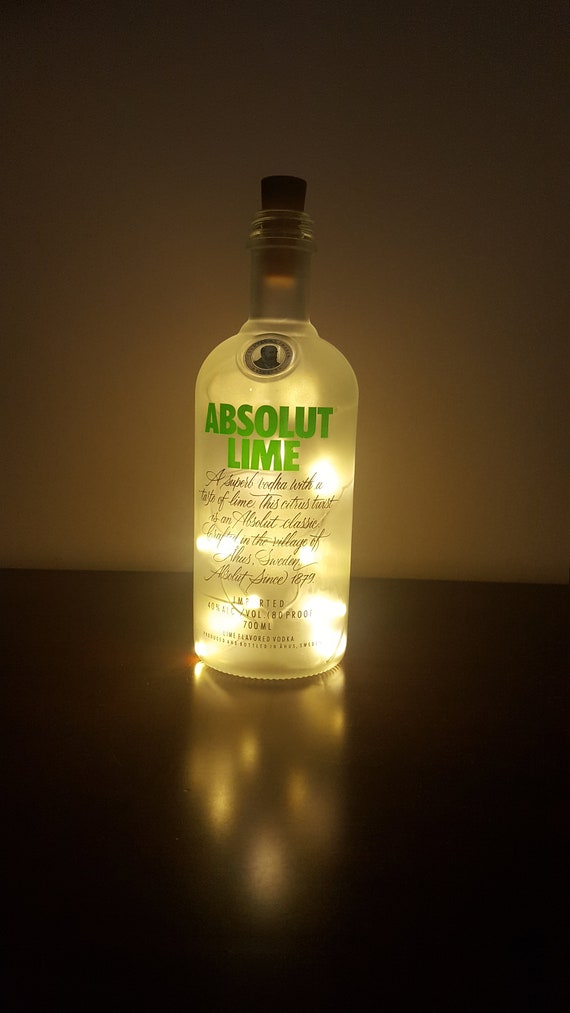 Absolut Vodka Lime Light Made From An Upcycled Gin Bottle - Present /  Birthday Gift / Vodka Lovers Gift