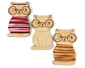Nerdy cat bobbins (set of 12) thread holders floss organiser cross stitch embroidery thread storage