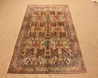 4.6x7.1 Feet Vintage Rug Handmade Carpet Handmade Medium Rug Handmade Medium Carpet.Code:BU351