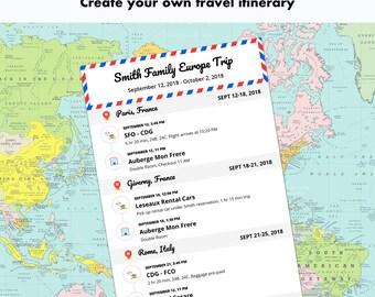 travel itinerary etsy