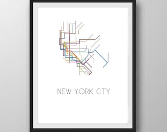 New York City Subway Map Black And White.New York Subway Map Etsy
