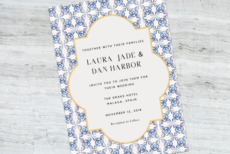 Spanish Tile Wedding Invitation Printable Template Elegant PDFs