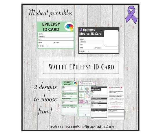 Epilepsy Medical Alert ID Card Pocket Wallet School Form
