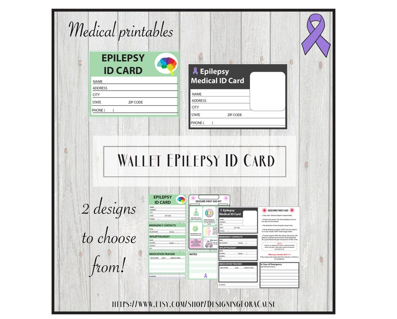 picture about Printable Medical Id Card named Epilepsy Healthcare Inform Identification Card, Pocket Wallet Identity, College or university variety- Printable, little one-helpful