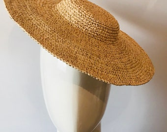 Brown Straw Button Hat Base  Hat Making Supply  Buntal Fascinator  Cocktail Hat  Millinery Supplies