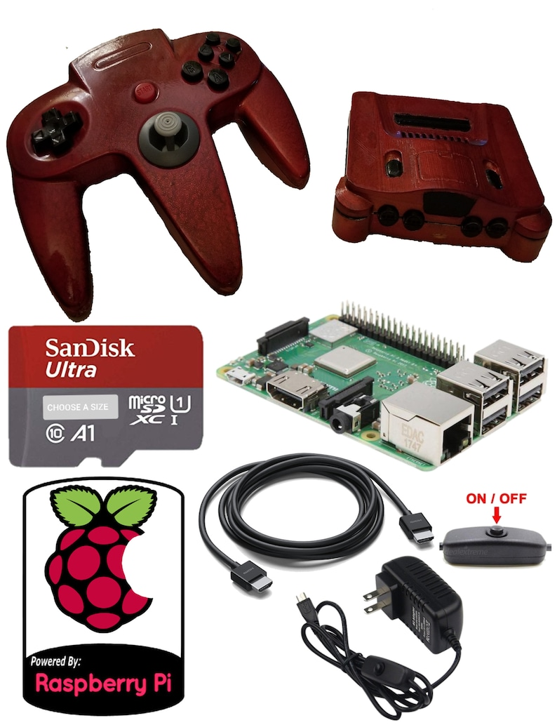 Raspberry Pi 3B Game Emulation Console With N64 Style Case & Retropie SD +  Games