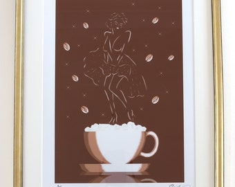 Coffee painting, giclee print, espresso con panna, mounted and framed