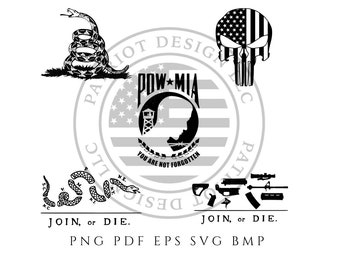 f4ae8ac16 Gadsden Flag - Join or Die - POW - Punisher Skull - POW MIA - Download -  Digital Download - Cricut - Silhouette