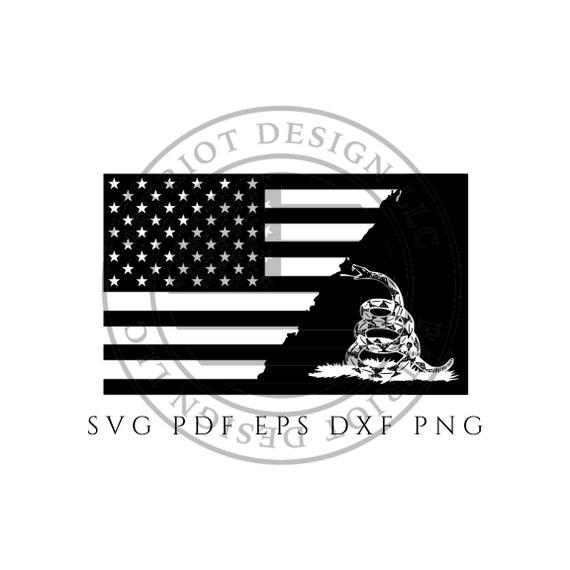 Gadsden Flag American Flag Vector Dont Tread On Me Black Etsy