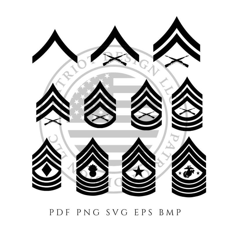 Marine Rank Bundle - Marine Enlisted Rank - Enlisted - Sergeant - Clip Art  - Download - Digital Download - Cricut - silhouette