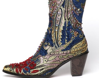Helens Heart Blue Brocade Tapestry Tall Linen Crystal Couture Boots NEW!!!