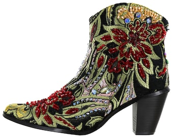 Helens Heart Black Brocade Tapestry Ankle High Linen Crystal Couture Boots NEW!!!