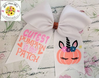 e2e8e89c19017 Cutest Pumpkin in the Patch- Halloween Cheer Bow-Unicorn Pumpkin