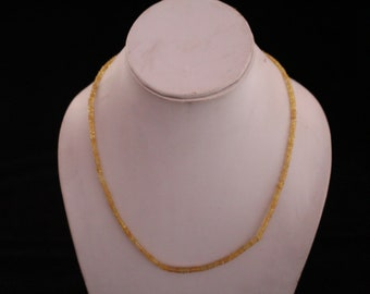 Natural Faceted Songea Sapphire Lemon Shade Necklace 17 inch Length 2.5 to 4 MM