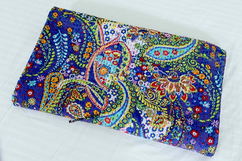 Stylish Cotton Hand Printed Kantha Quilt Bedspread Kantha Throw Kantha Bed Cover Queen Size Blanket floral pattern Bedspread Kantha Throw