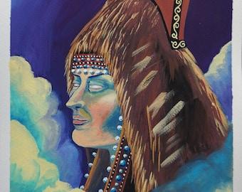 Original Gouache Painting - Sakha indigenous Hat
