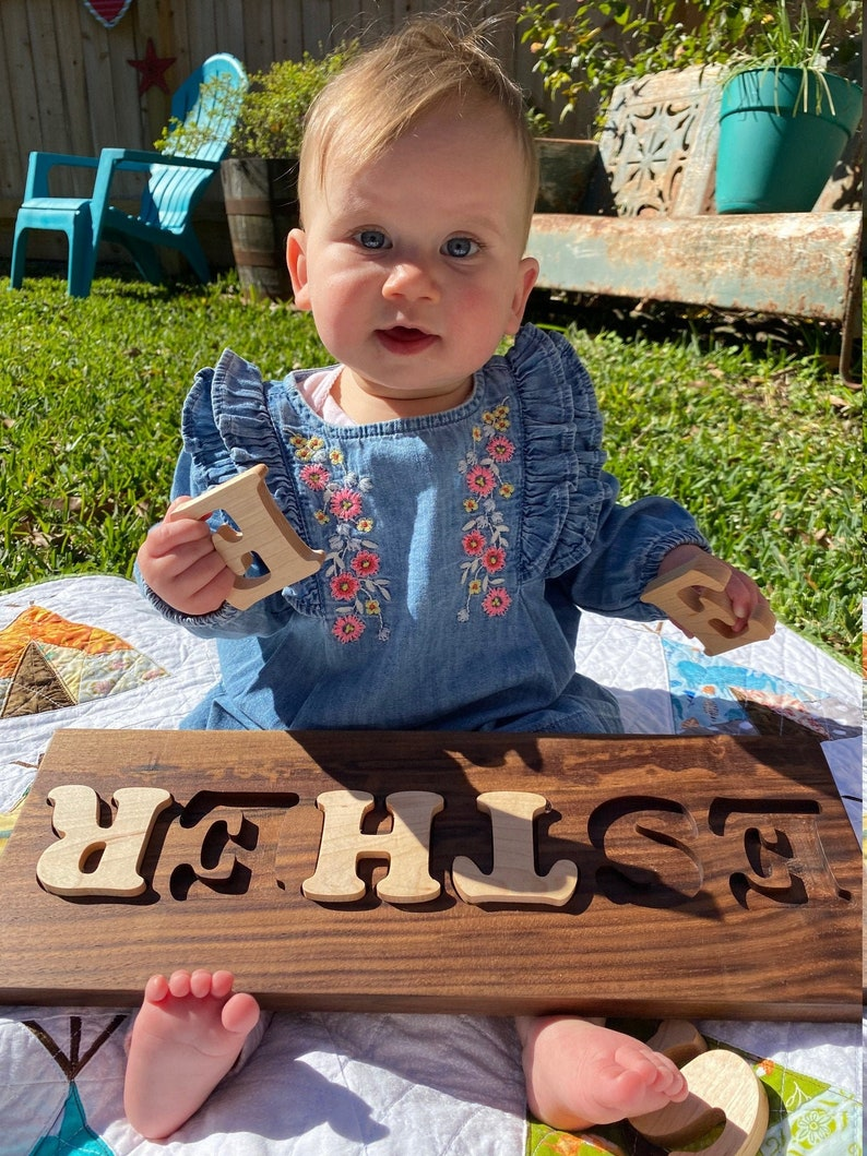 Custom Walnut and Maple Wood Name Puzzle  Baby Name Puzzle image 0