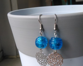 Filigree drop earrings with textured murano glass beads
