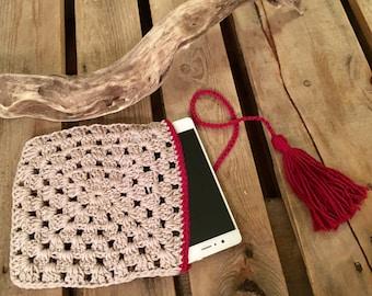 Sleeve smartphone crochet cotton vegan