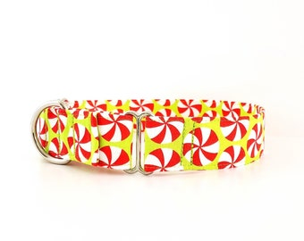 """Martingale Dog Collar Christmas Peppermint Candy Swirl Green size XS - XL 1"""" 1.5"""" and 2 inch width"""